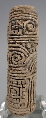 Pre Columbian  terracotta clay seal roll w/ Geometric Decoration ca. 1000 AD