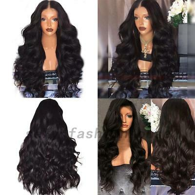 Women 28'' Black Long Wavy Natural Wigs Ladies Full Head Synthetic Hair Wig