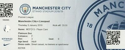 * USED MATCH TICKET - MAN CITY v LIVERPOOL (3rd January 2019) *