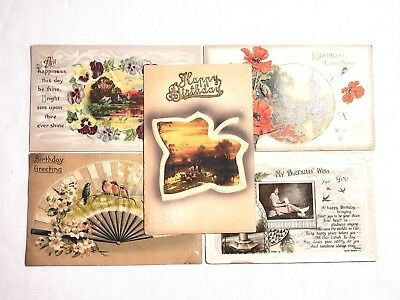 Lot of 5 Vintage Embossed Foil Postcards with Stamps