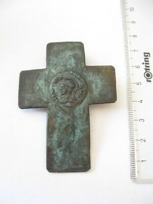 Ancient Old Massive Bronze Roman Cross Replica