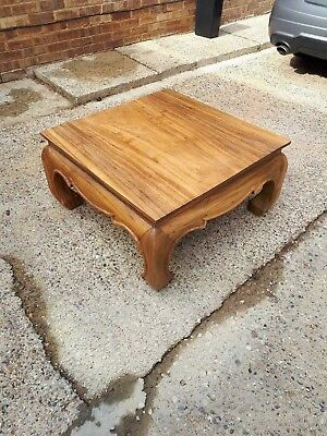 Used solid wooden coffee table, top single piece of wood, 790 by 800 by 410h mm