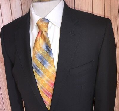 TM Lewin Blazer 40L Solid Navy Blue 100% Wool 2 Buttons Jacket Sport Coat