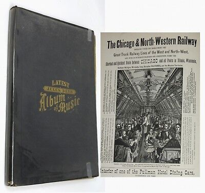 1878 Jules Berr Chicago Music Album With CNWR Pullman Dining Car Ad + Many More