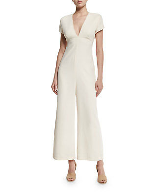 T BY ALEXANDER WANG Open-Back Crepe Jumpsuit Sandstone Ivory Off White 8/M