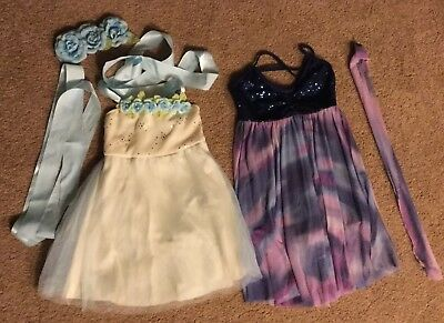 Little Girls Dance Costumes Dresses Leotard Approximately 6x-7 Used Lot