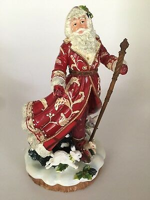 Fitz & Floyd Town & Country Ceramic Santa Claus Music Figure Figurine Christmas