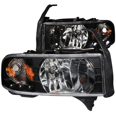 ANZO for 1994-2001 Dodge for Ram Crystal Headlights Black w/ LED - anz111205