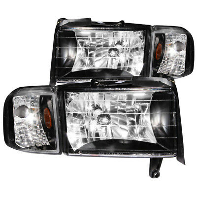 ANZO for 1994-2001 Dodge for Ram Crystal Headlights Black - anz111067