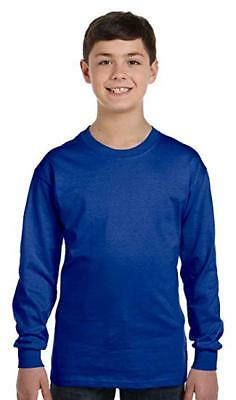 Hanes Boys' Youth Tagless Long Sleeve Cotton Crew Neck T-Shirt, Blue, Size YXL