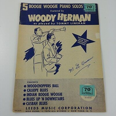 5 BOOGIE WOOGIE Piano Solos Woody Herman Sheet Music Book Tommy Linehan Vtg