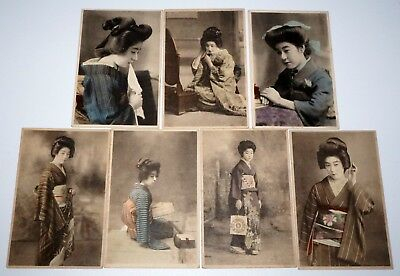 7x 19C Japanese Meiji Small Photographs of Geisha & Beautiful Woman (***) #5