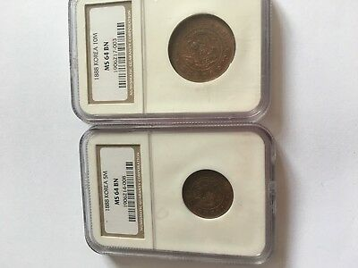 1888 5 Mun and 10 Mun MS64 by NGC