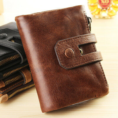 RFID Mens Genuine Leather Wallet Cash ID Credit Card Holder Coin Purse Soft