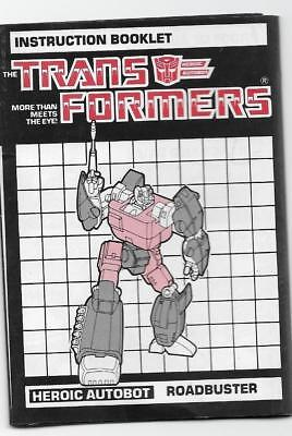 Transformers Original G1 1985 Roadbuster Instruction Book