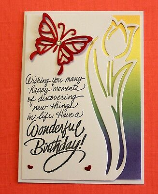 White Have A Wonderful Birthday Handmade Card DIY Card Making Kit Tulip Edge