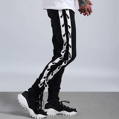 Mens Side Cross Lace Up Strings Jogger Pants Mixed Colors Sport Casual Chic E198