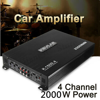 2000W 4 CH 12V 2ohm Stereo Car Audio Power Amplifier Amp Subwoofer Home