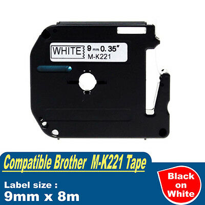 1x Compatible P-Touch Labels Tape for Brother M-K221 Black on White PT-70 PT-80
