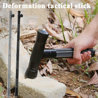 F77D Trekking Pole Walking Cane Multifunction Tactical Stick Combination