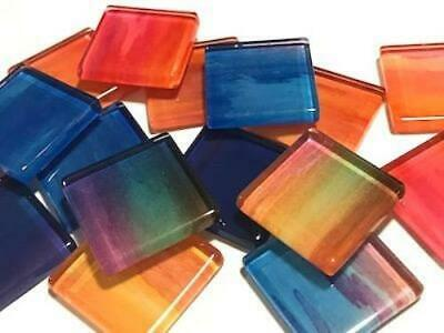 Handmade Watercolour Glass Mosaic Tiles 2.5cm Pattern 2 - Craft Art Supplies