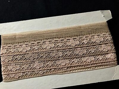 """5 yards 7"""" x 1 1/2"""" Early Vintage Ecru Lace Trim Edging Insert w/Slit for Small"""