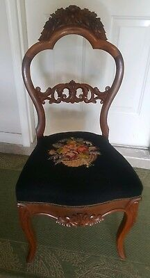 Antique French style Hand-Carved Solid Wood Chair, Needlepoint Upholstery