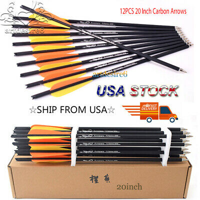12PCS 20 Inch Target Carbon Arrows Crossbow Bolts for Archery Hunting Shooting
