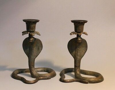 Pair of Vintage Cast Metal Cobra Snake Shaped Candle Holders