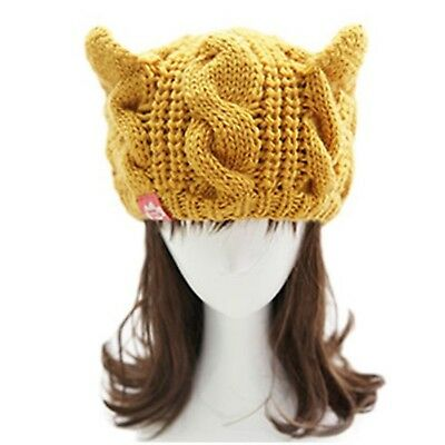 Winter Cap Yellow Chunky Soft Stretchy Skully Warm Cable Knit Beanie For Women