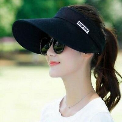 Beach Cap Black Adjustable Summer UV Protection Large Brim Sun Hat For Girls
