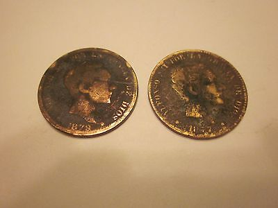 COINS SPAIN 1870's SPANISH EUROPEAN SET OF 2 COLLECTIBLES #704