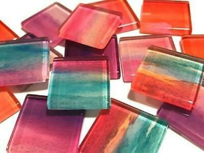 Handmade Watercolour Glass Mosaic Tiles 2.5cm Pattern 5 - Craft Art Supplies