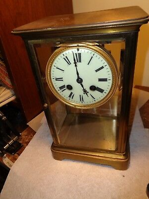 "Antique-French-Crystal Regulator Clock ""Japy""-Ca.1900-To Restore/Parts-#T14"