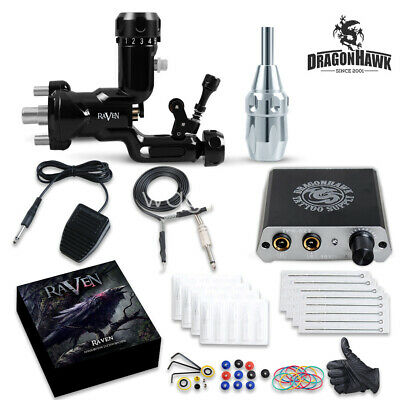 TOP Tattoo kit Airfoil Rotary Machine Gun Power Supply Needles Tip Grip D3052