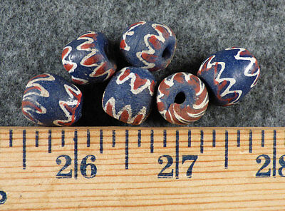 (6) Old Red White & Blue Woman's Chevron Huron Indian Trade Beads Fur Trade