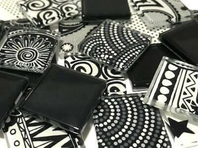 Black & White Handmade Colour Mix Glass Mosaic Tiles 2.5cm - Art Craft Supplies