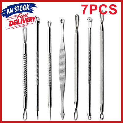 7Pcs Set Blackhead Remover Comedone Pimple Extractor Blemish Acne Kit Clip Tool