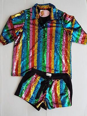 PETER ALEXANDER LADIES RAINBOW SEQUIN SHORTIE PYJAMA SET in Multi RRP$249