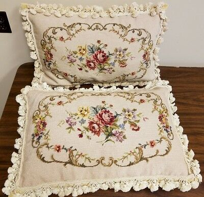 "Matched Pair 22"" French Aubusson Wool Needlepoint Pillows w/ Fringe Velvet Backs"