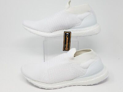 f655889ab New Mens ADIDAS UltraBoost Laceless Running Shoes S80768 Triple White Sz 9