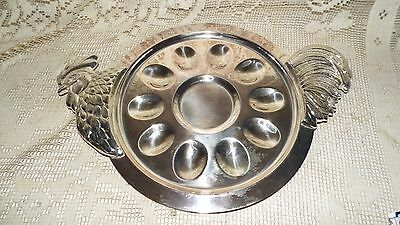Silverplate? Rooster Chicken Egg Dish Tray Platter Embossed Bmfn Heavy!