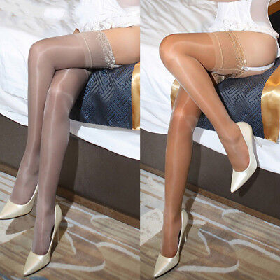 Women Oil Shiny Glossy High-Stockings Lace Silicone Stay Up Thigh-Highs Hosiery