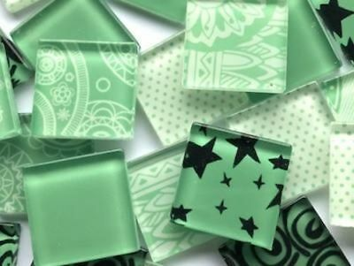 Green Handmade Colour Mix Glass Mosaic Tiles 2.5cm - Art Craft Supplies