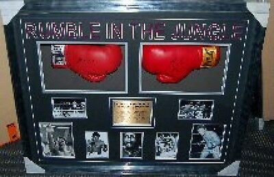 MUHAMMAD ALI v GEORGE FOREMAN SIGNED FRAMED RUMBLE IN THE JUNGLE BOXING GLOVES