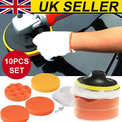 10Pcs 3 Inch Sponge Foam Waxing Polishing Buffing  Pads Kit Drill Buffer Adapter