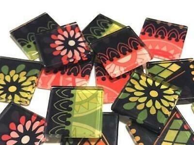 Tribal Inspired Glass Mosaic Tiles 2.5cm Pattern 16 - Art Craft Supplies