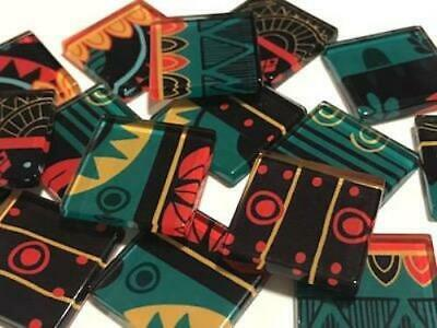 Tribal Inspired Glass Mosaic Tiles 2.5cm Pattern 20 - Art Craft Supplies