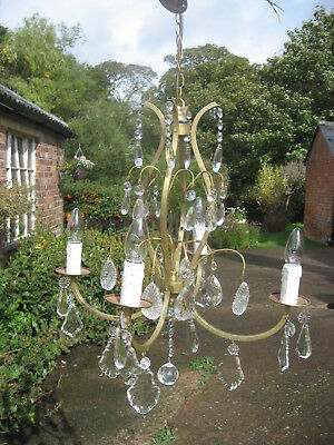 French  Antique 4 Branch Chandelier & Crystal Drops Outstanding  /3841