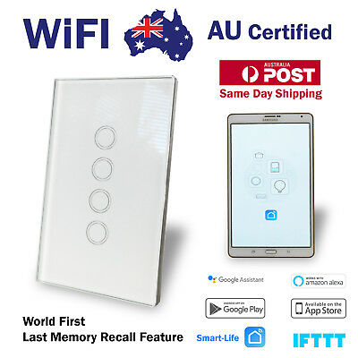 WIFI Touch  Smart Home Automation 4 Gang Wall Switch Google Home Alexa IFTT